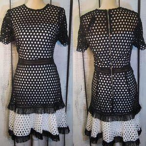 INA Black & White Lace Tassel Dress M